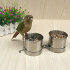 2 Bird Parrot Cage Stainless Steel Seed Water Feeder Cups - L