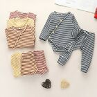 Infant Baby Boys Girls Long Sleeve Striped Romper Bodysuit Pants Outfits Set