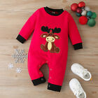 Infant Baby Boys Girls Christmas Cartoon Deer Embroidery Fleece Romper Jumpsuit
