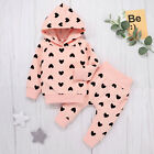Newborn Infant Baby Girls Heart Printing Hooded Coat Outwear Pants Outfits