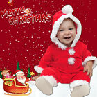 Winter Infant Baby Boys Girls Christmas Solid Hoodie Fleece Romper Jumpsuit