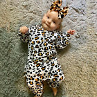 Infant Baby Boys Girls Leopard Print Ruffles Romper Jumpsuit Hairband Outfits