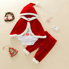 Newborn Kids Baby Christmas Costume Letter Tops Pants Cape Cloak Set Clothes