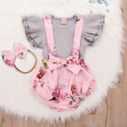 Toddler Infant Baby Girl Sleeveless Ruffle Tops Overall Floral Short Clothes Set