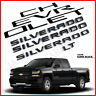 5PCS Gloss Black SILVERADO LT Letters Emblem Badge Nameplate For Chevrolet 19-21
