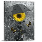 Yellow Gray Sunflower Umbrella Raindrops Canvas Bathroom Bedroom Wall Art