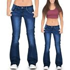 WOMEN'S BOOTCUT JEANS STRETCH DENIM PANTS LADIES LOW WAIST FLARED TROUSERS US
