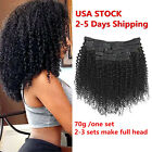 CLEARANCE Afro Kinky Curly Clip in Real Human Hair Extensions Black Full head US