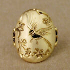 Fashion Bird Carved 18k Yellow Gold Plated Rings Women Jewelry Rings Sz 6-10