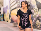 ULTRABASIC Women's T-Shirt Quote True Love True Life - Romantic Gift for Lady