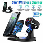3 In1 Qi Wireless Fast Charger Charging Station Stand LED For Apple Watch iPhone