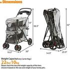 Livebest Double Layer Pet Stroller 4 wheel Breathable Carrier Cage Dogs Cats
