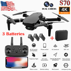 NEW S70 RC Drone 4K HD Dual Camera Wi-Fi FPV Selfie Drone Foldable Quadcopter US