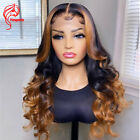 Lace Front Human Hair Wig Wavy Ombre Honey Blonde 13x4 Lace Front Wig Highlight