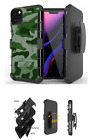 For iPhone 12 ,11,XS Max,XR,8,7 Hybrid Belt Clip Holster Case Urban Green Camo