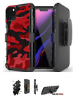 For iPhone 12 ,11,XS Max,XR,8,7 Hybrid Belt Clip Holster Case Urban Red Camo