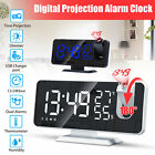 Digital LED Display Alarm Clock FM Radio Projection USB Charger Snooze 12/24H