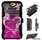 For HTC Bolt,One A9,Desire Series Hybrid Belt Clip Holster Case Pink Love hearts