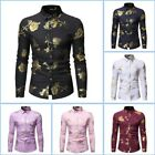 Stylish Casual Shirt Long Sleeve Slim Fit Luxury Mens Floral Top Dress Shirts
