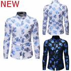 Slim Fit Shirt Floral Stylish Top Luxury Long Sleeve Dress Shirts Mens Casual