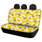 Floral Rose Car Rear Seat Covers Decoration 2pcs Auto Accessory Protector Covers