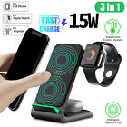 3 in 1 Qi Wireless Charging Dock Charger Stand For iWatch iPhone Air Pod Station