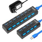 4/7 Port USB 3.0 HUB Power High Speed Splitter Extender AC Adapter Cable Desktop