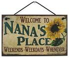 Nana's Place Vtg Style Sign with Sunflower Grandma Grandmother Welcome Gift
