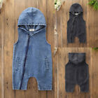 Toddler Kids Baby Boys Outfits Clothes Denim Hooded Sleeveless Romper Jumpsuit