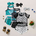 Toddler Baby Girls Short Sleeve Tops Hearts Printed Vest Shorts Sports Outfits