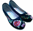 Black Canvas Embroidered Flat Shoes Peony Flower Embroidery for Tai chi