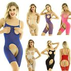 Womens Mesh See-through Jumpsuit Sheer Lingerie Bodystocking Catsuit Leotard