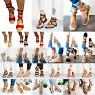 Women Lace Up Ankle Wrap Strappy Gladiator Summer Beach Flats Sandals Shoes Size