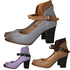 Womens Ankle Strap High Block Heel Sandals Ladies Closed Toe Court Party Shoes