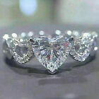 Women 925 Silver Rings Heart White Sapphire Engagement Jewelry Gift Sz 6-10