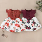 Toddler Baby Girls Summer Fly Sleeve Bowknot Splice Floral Print Dress Clothes