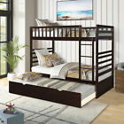 Merax Twin Over Twin Bunk Bed with Trundle Solid Wood Bunk Bed