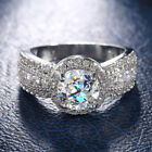 Round Cut Cubic Zirconia Gorgeous 925 Silver Rings Women Wedding Rings Size 6-10