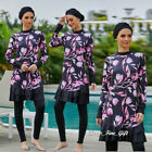 3PCS Floral Burkinis Sets for Women Muslim Modesty Hijab Cap Full Cover Swimsuit