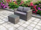 Twin Two Rattan Garden Wicker Outdoor Conservatory Sofa Furniture  Dining Grey