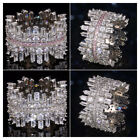 Gorgeous Cubic Zirconia 925 Silver Rings Women Wedding Party Ring Sz 6-10