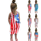 Lovely Toddler Kids Baby Girls Printed Independence Day Romper Jumpsuit Playsuit