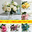 5 Heads Artificial Flowers Silk Peony Bouquet Fake Rose Wedding Home Party Decor