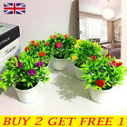 Fake Artificial Potted Flowers False Plants Outdoor Garden Home In Pot Decor Uk