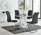GIOVANI Round Grey White Gloss Glass Dining Table Set and 4 Faux Leather Chairs