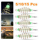 5/10/15Pcs Stainless Steel Feeder Fishing Bait Inline Hanging Tackle Spring Lure