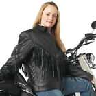 Ladies Leather Motorcycle Concho Fringed Jacket GFLADMJ