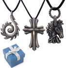 "Variety of Mens Gunmetal Pendants w/  16""- 18"" Necklace"