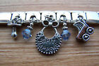 Handcrafted Baby Theme Bib Buggy Pacifier Charm Key Ring with Blue