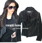 jp10 Celebrity Style Asymmetrical Zipper Faux Leather Jacket/Vest Worn 2 Styles